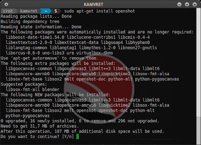 sudo apt-get install openshot