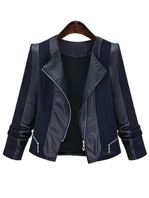Plus Size Chic Zipped Leather Patchwork Jacket For Women - Blue - 4xl