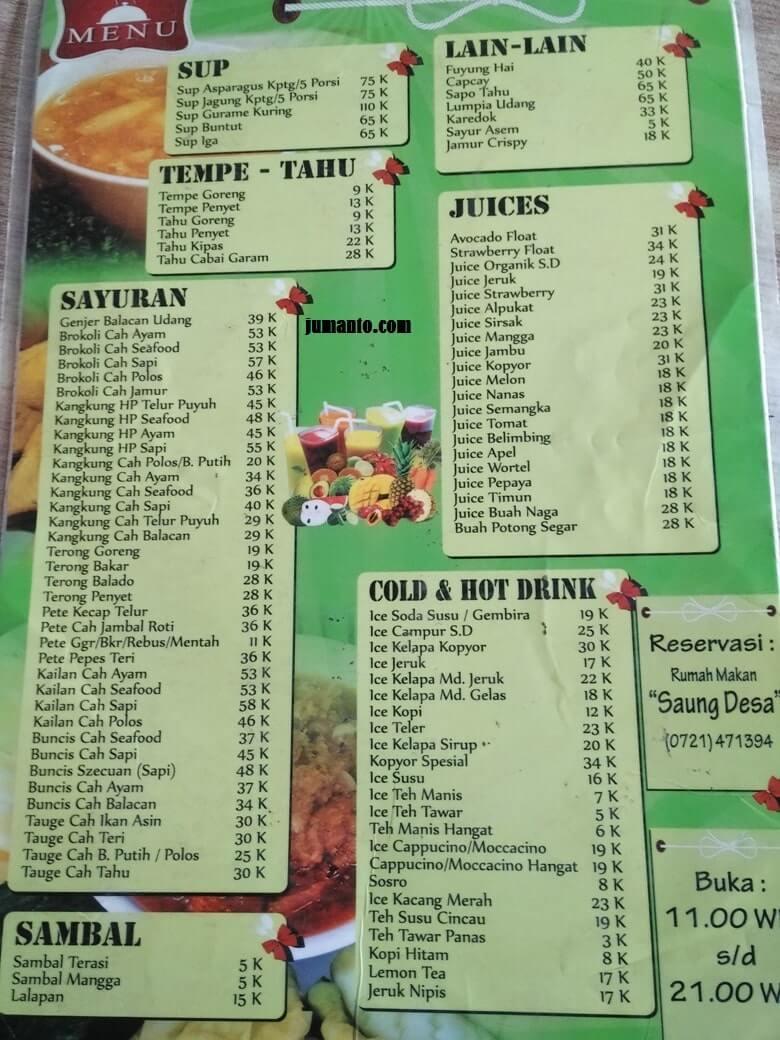 menu makanan saung desa lampung dan harga