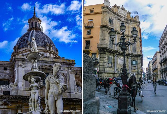 Fonte da Piazza Pretoria (esq) e Quatto Canti, atrações de Palermo, Sicília