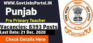 Education Recruitment Board of Punjab Vacancy  Pre Primary Teacher Notification 2020