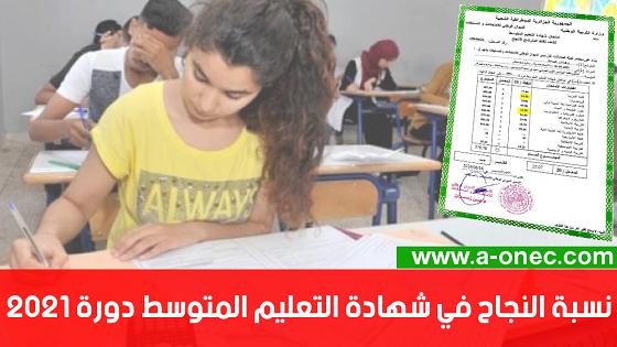 """64.40 نسبة النجاح في شهادة التعليم المتوسط - نتائج شهادة التعليم المتوسط """" البيام """" bem.onec.dz2021"""