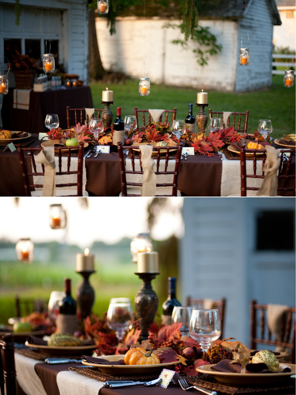 Thanksgiving DIY Tablescape a Dinner Party Ideas - via BirdsParty.com