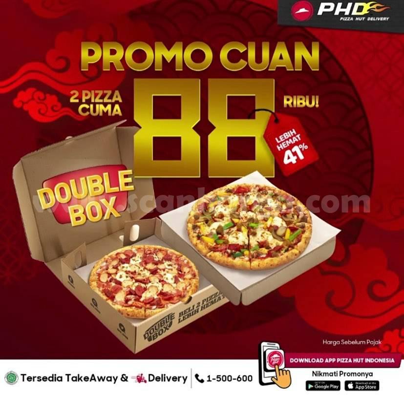 PHD Promo CUAN 88 – Paket Double Box [2 PIZZA] CUMA Rp 88Ribu
