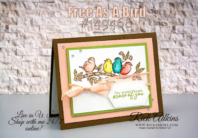 s A Bird Stamp Set, Watercolor Pencils, Tasteful Texture 3d embossing Folder, Rick Adkins, Stampin' Up!