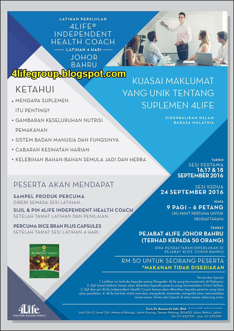 foto Latihan Persijilan 4Life Independent Health Coach @ Johor Bahru