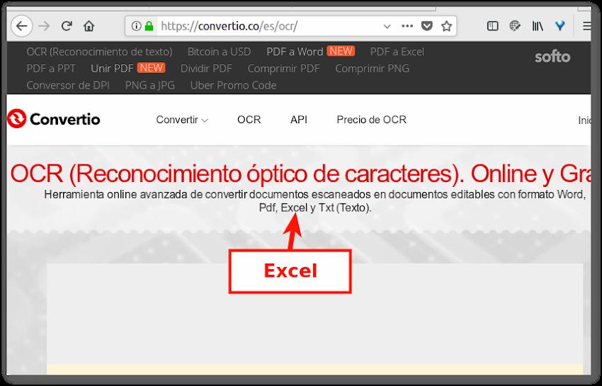 PDF con tabla en Excel a .xlsx