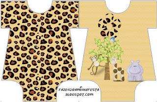 Invitación en forma de Baby Bodysuit de La Selva de Juguete.