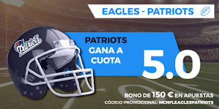 Paston Megacuota Super Bowl LII: Philadelphia Eagles vs New England 5 febrero