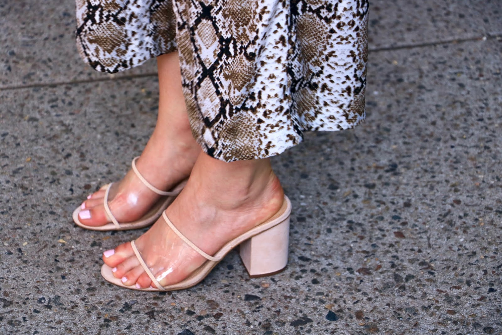 Nyc fashion blogger Kathleen Harper wearing nude and clear Who What Wear heels from Target.