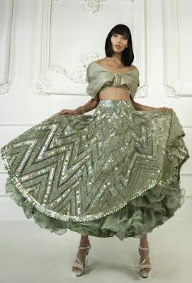 Manish Malhotra Lehengas Moss Green Mirrored Short Mid