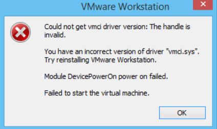 could not get vmci driver version the handle is invalid workstation 10