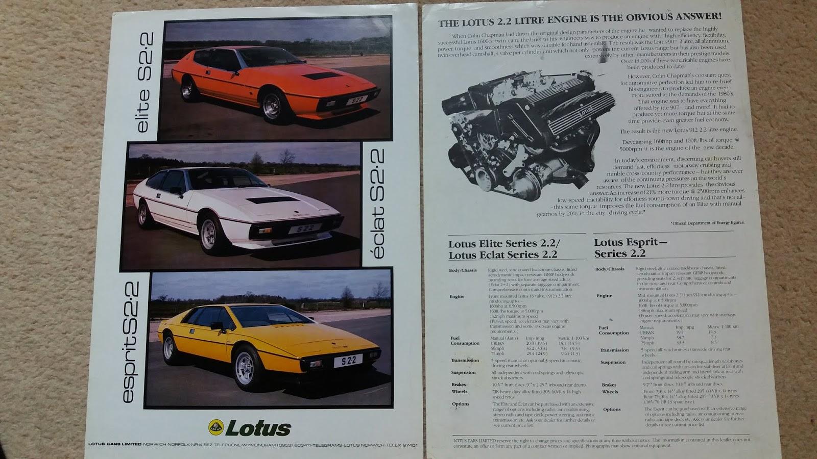 Responsible Lotus Esprit Post Card Brochure Sales Literature Vehicle Parts & Accessories Automobilia