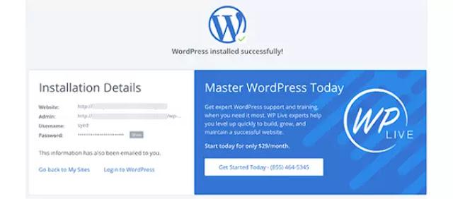 launches Blue Host WordPress Installing wizard