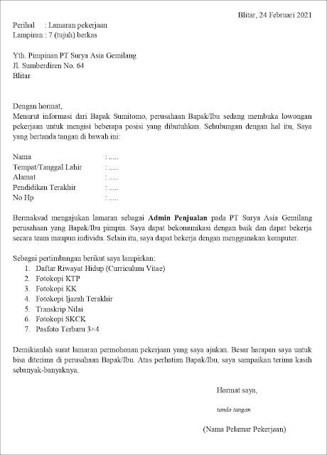 Contoh Surat Lamaran Kerja Untuk Admin Penjualan (Fresh Graduate)