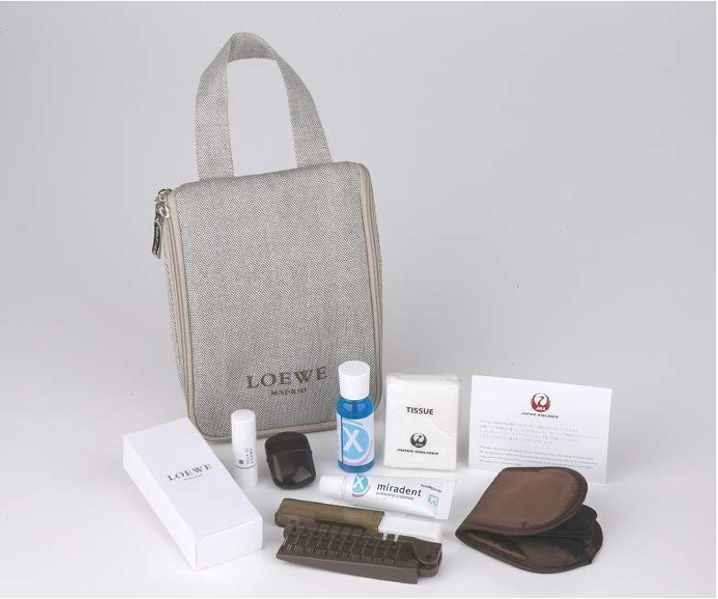 New JAL First Class amenity kit from LOWEW