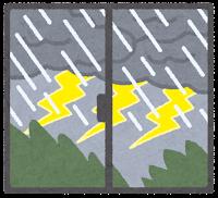 窓の外の天気のイラスト(雷雨)