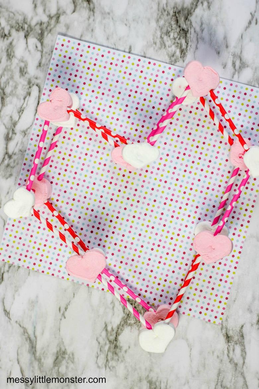 Valentine marshmallow 3D heart activity for kids