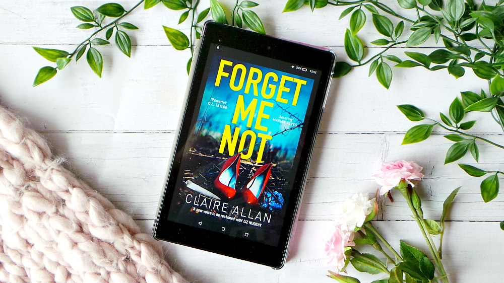 Kindle fire showing the cover of Forget me not. The cover has a pair of red high heels amongst a hedge with a knife lying next to them