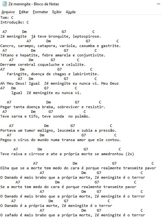 Cifras - Revelação - Zé Meningite