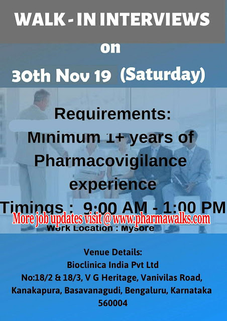Bioclinica walk-in interview for Freshers and Experienced candidates on 30th Nov' 2019
