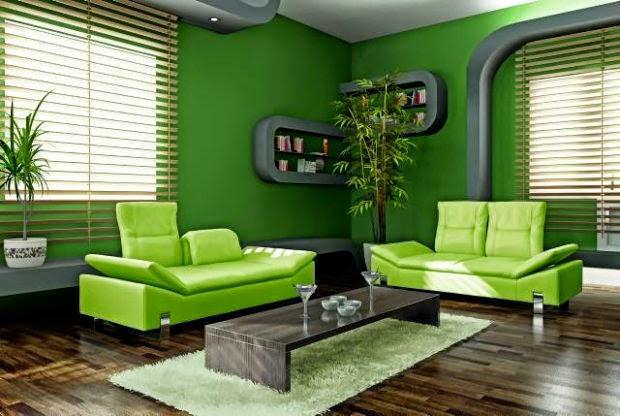 Salas en verde y gris  Salas con estilo