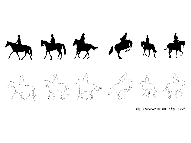 Horse riding free dwg cad blocks download