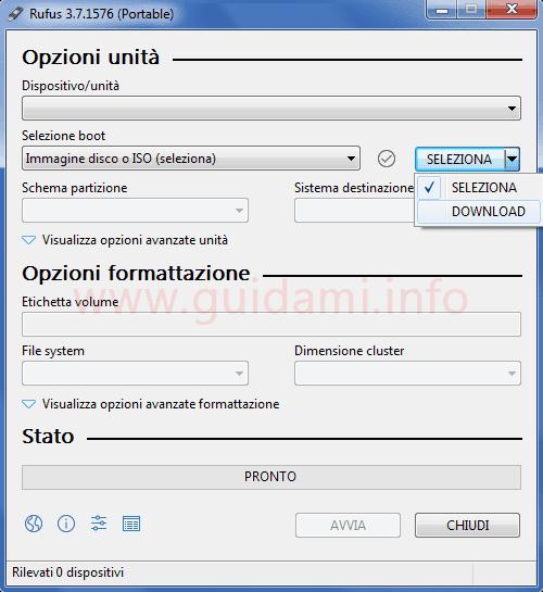 Rufus pulsante opzione Download per scaricare la ISO di Windows 10 o 8.1