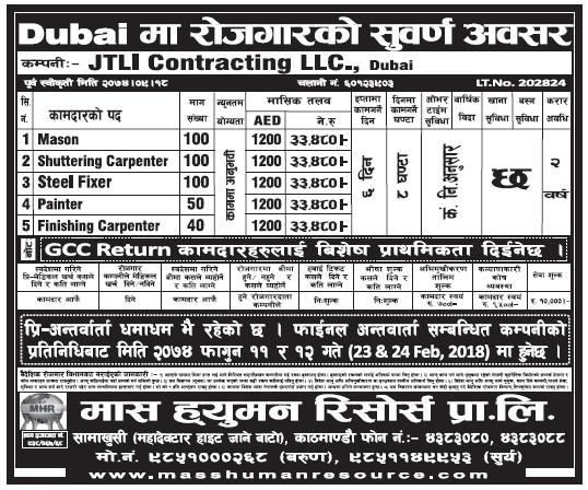 Jobs in Dubai for Nepali, Salary Rs 33,480