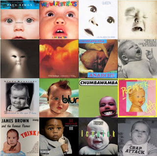 A composite of 16 music album covers featuring babies.