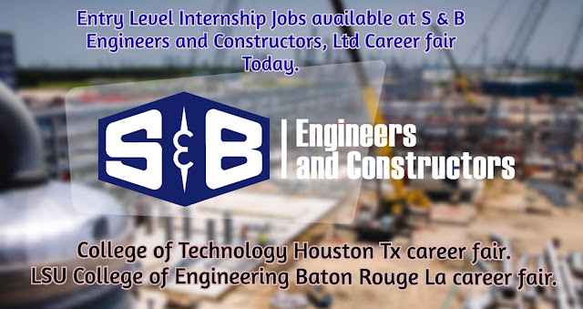 Entry Level Internship Jobs available at S & B Engineers and Constructors, Ltd Career fair Today.
