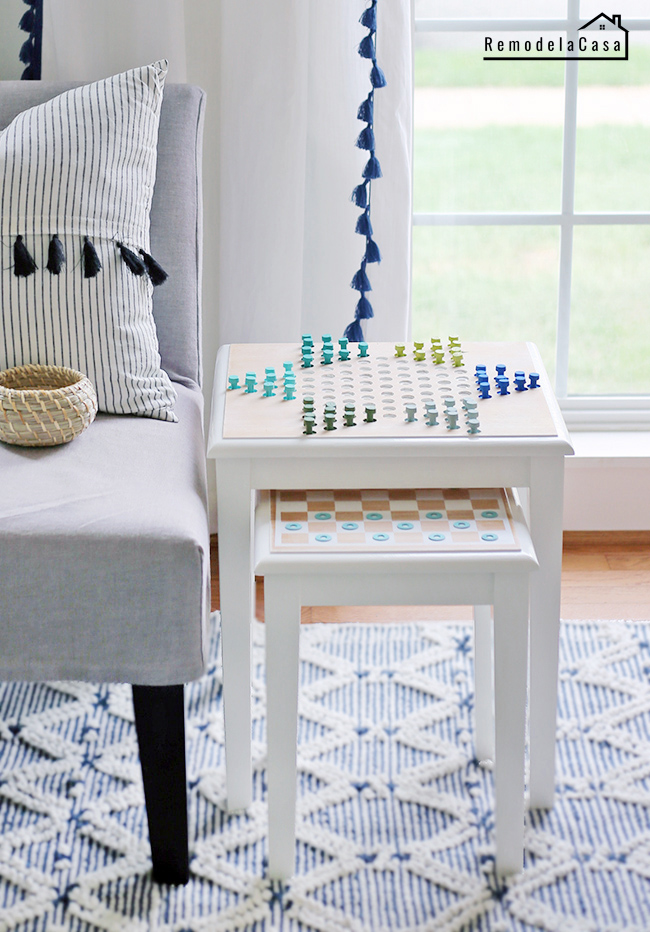 white nesting tables with Chinese checkers game on it #diygamechallenge