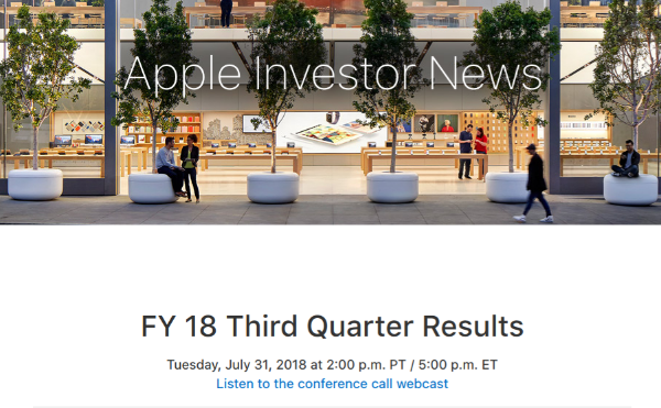 Apple To Announce Its Q3 2018 Earnings Results On July 31st