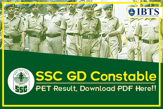SSC GD Constable 2018 PET Result, Download PDF Below
