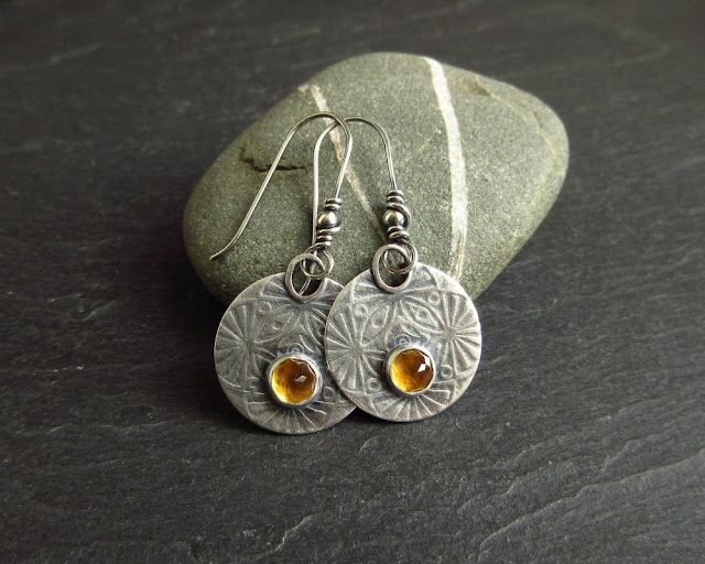sterling silver earrings with citrine cabochon