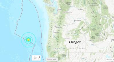 M5.9 Earthquake Detected Off Oregon Coast