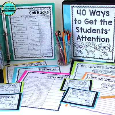 Every classroom needs attentions getters or grabbers to promote classroom management. These strategies could be catchy phrases or non verbal. Create an anchor chart for your kids so they remember the procedures and routines. #classroommanagement #clutterfreeclassroom