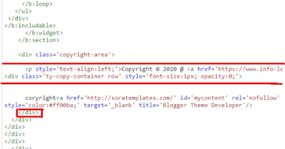 How to remove footer copyright credit on blogger.