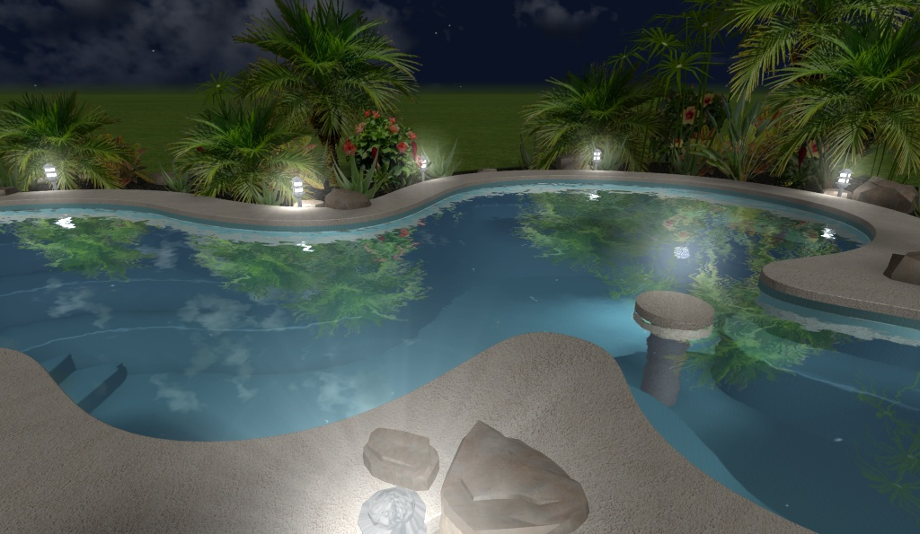 Dise os 3d imagenes renders de jardines virtuales y for Diseno de piscinas residenciales