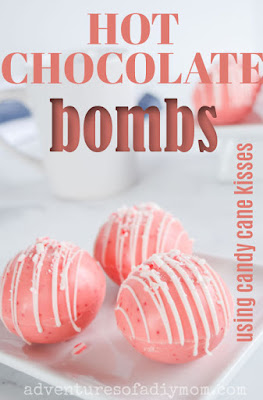 hot chocolate bombs using candy cane kisses