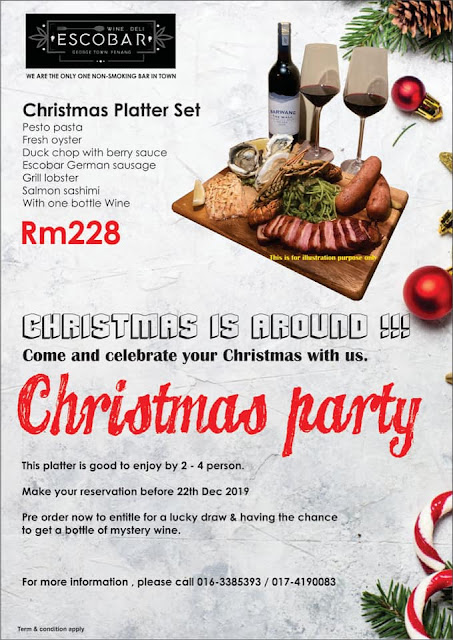 Celebrate Christmas with Karaoke and Christmas Platter Set @ Escobar Wine & Deli, Penang