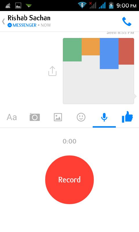 send audio in fb messanger