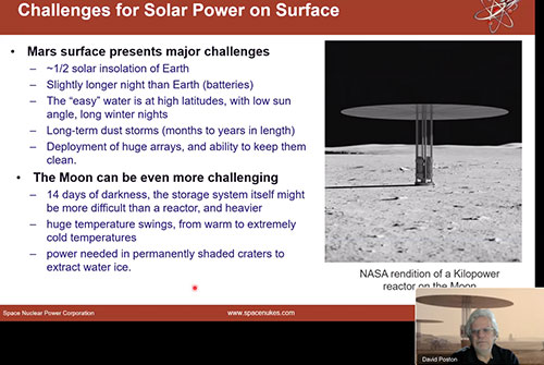Power requirements between Moon and Mars (Source: David Poston, www.spacenukes.com)