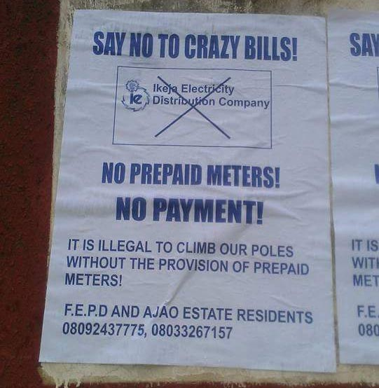 Ajao Estate residents publish posters in protest of Ikeja Distribution Company fees