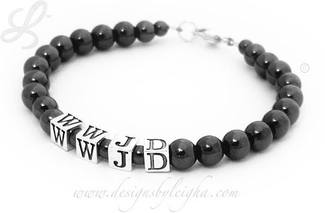 Magnetic WWJD Bracelet - Hematite
