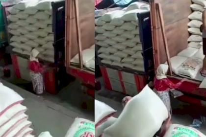 Bikin Nangis, Nenek Ini Pungut Butiran Beras yang Berjatuhan di Truk Demi Bertahan Hidup