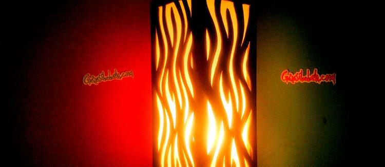 DIY project - Membuat lampu kamar/dinding (flame pendant lamp) dari kayu tripleks