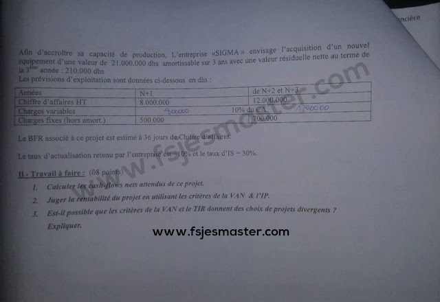 Exemple Concours d'accès au Master Finance Audit et Contrôle de Gestion - Fp Tétouan