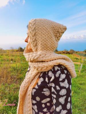 patrón gratis bufanda con capucha a dos agujas