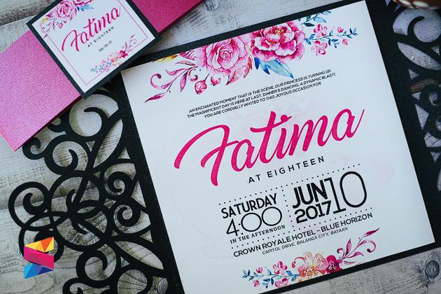 Black Fuchsia Laser Cut Debut Invitation Stunro CreativeWorks - Birthday invitation for debut